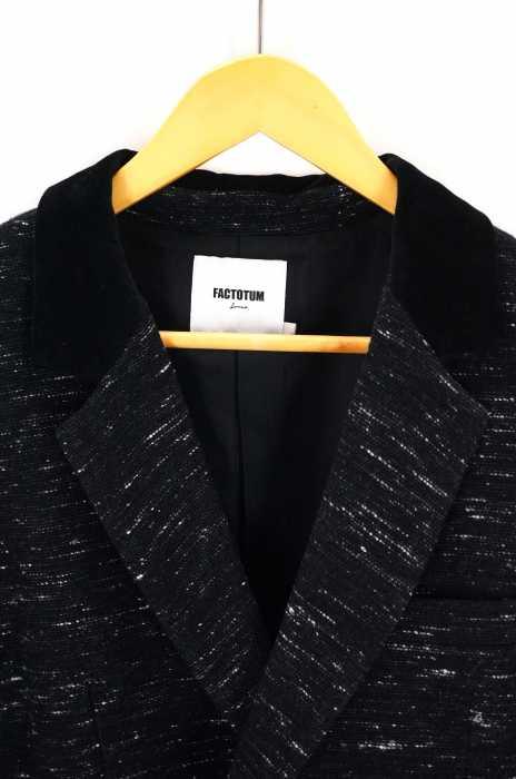 ファクトタム オム FACTOTUM homme テーラードジャケット メンズ黒系 JPN 46 作務衣型ラペル切替テーラードジャケット ブランド古着バズストア100919exdoCB
