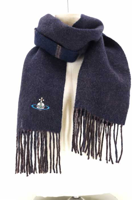 Vivienne-Westwood-Scarf-Mens-Youth-Orb-Embroidery-Cashmere-Second-Hand thumbnail 4
