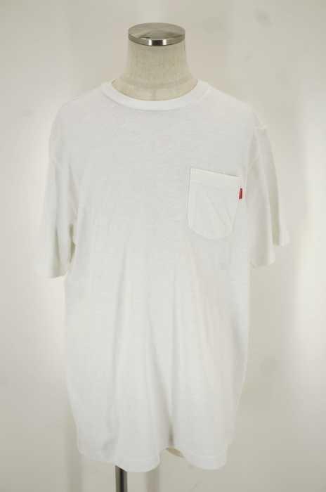 シュプリーム Supreme クルーネックTシャツ メンズ - ホワイト × レッド L ポケットTシャツ【中古】【ブランド古着バズストア】【190518】
