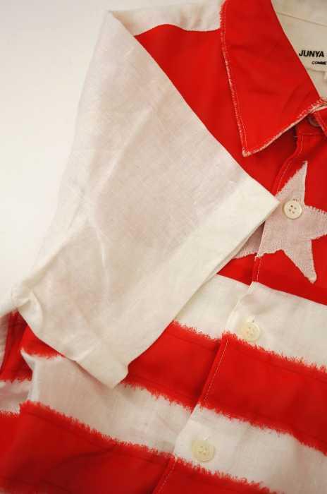 ジュンヤワタナベコムデギャルソン JUNYA WATANABE COMME des GARCONS シャツ レディース 2001年春夏新作 赤系 × 白系 JPN S AD2000 01SS 星条旗デザインリネンシャツ ブランド古着バズストア230419E9H2WID
