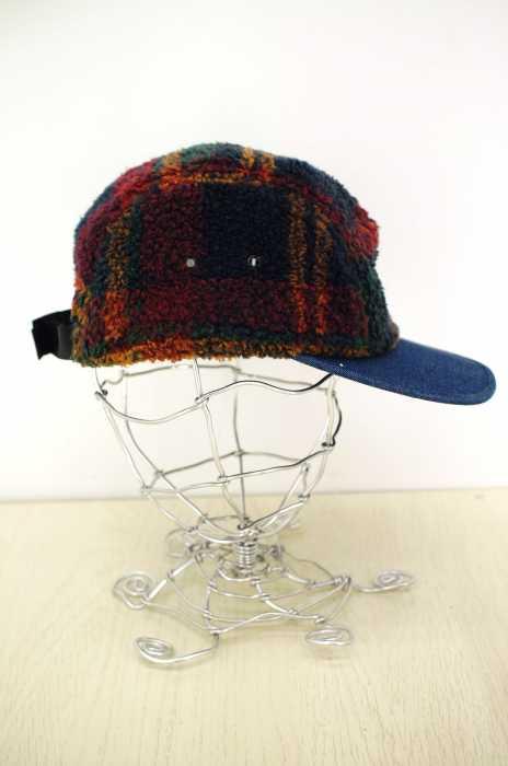 シュプリーム Supreme キャップ帽子 メンズ 2014年秋冬新作 赤系 × 青系 PLAID FLEECE 5 PANEL CAMP CAP【中古】【ブランド古着バズストア】【200718】