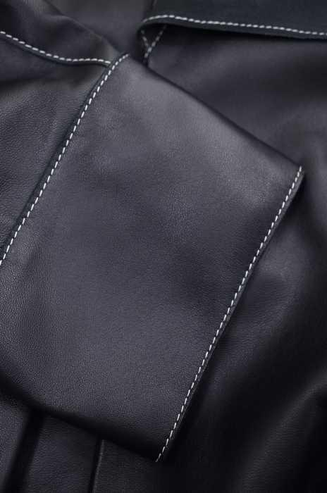 VEJAS ヴェジャス レザージャケット メンズ黒系HANDKERCHIEF NECKTIE LEATHER JACKET ブランド古着バズストア260718ZXuTOiPk