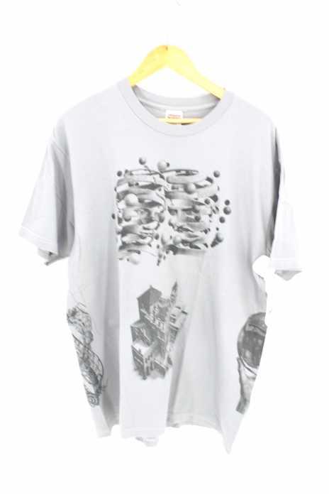 Supreme × M.C. Escher シュプリーム クルーネックTシャツ メンズ 2017年春夏新作 黒系 × 紫系 import:XL Collage Tee コラージュTシャツ【中古】【ブランド古着バズストア】【290618】