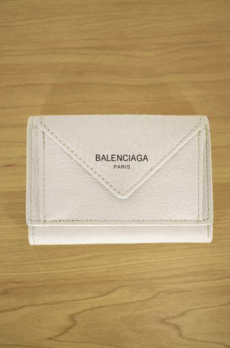 バレンシアガ BALENCIAGA 三つ折り財布 レディース - 白系 PAPER ZA MINI WALLWT ペーパー ミニ ウォレット【中古】【ブランド古着バズストア】【040718】
