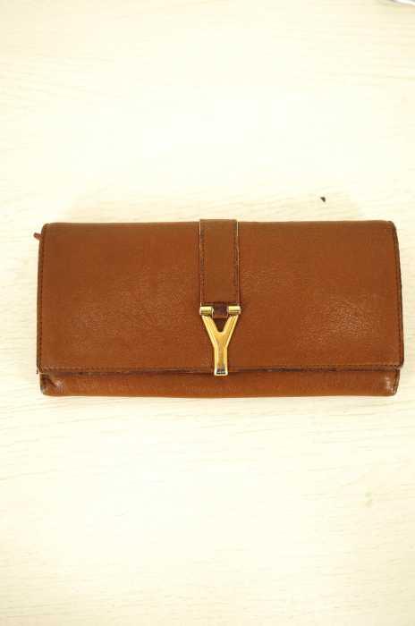 イヴサンローラン Yves Saint Laurent 二つ折り財布 メンズ - ブラウン Y金具レザー二つ折り長財布【中古】【ブランド古着バズストア】【200218】