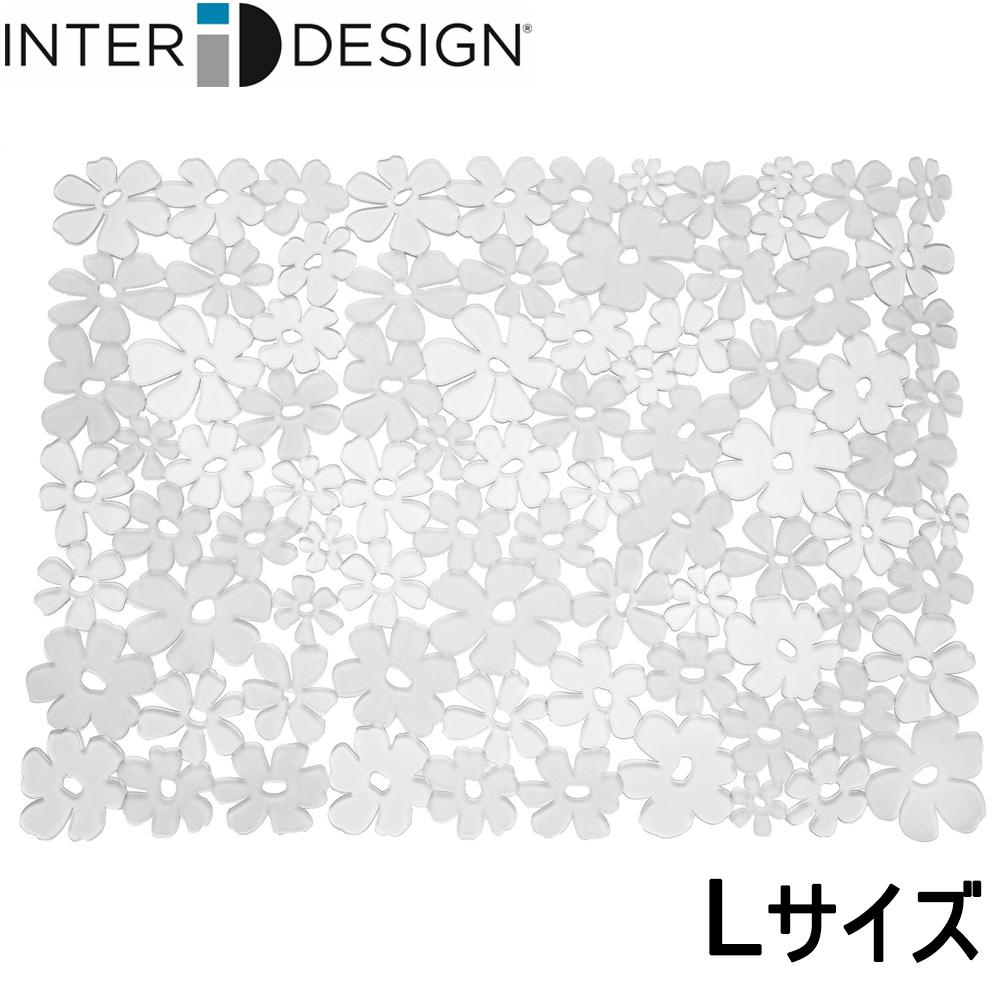 インターデザイン 超歓迎された InterDesign シンクマット 花柄 カット可能 609605 クリア Lサイズ お求めやすく価格改定