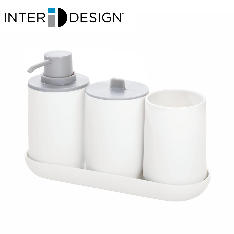 供え インターデザイン InterDesign 洗面所セット 2020モデル ソープディスペンサー 歯ブラシホルダー トレイ付き キャニスター 287322 マットホワイト