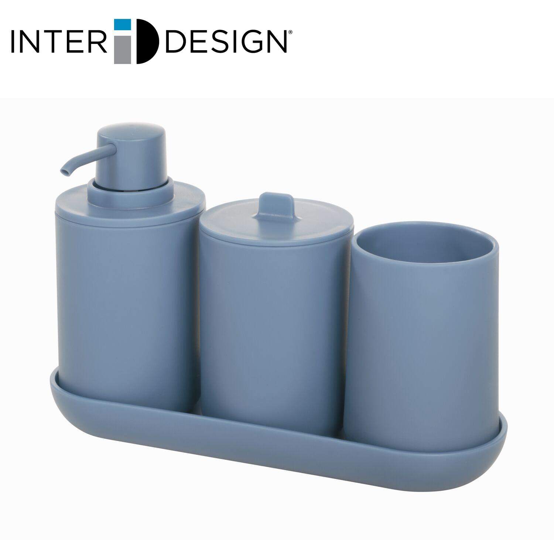インターデザイン InterDesign 安全 洗面所セット ソープディスペンサー 輸入 歯ブラシホルダー キャニスター トレイ付き 287360 マットブルー