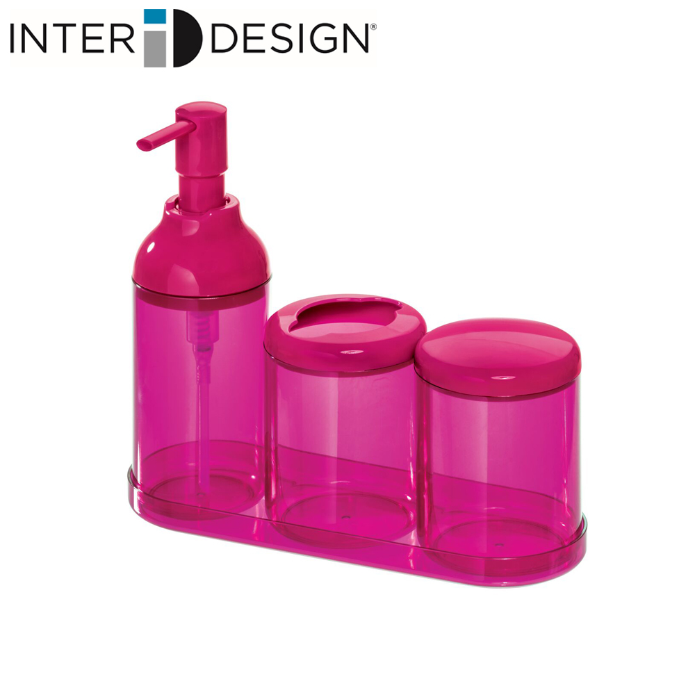 インターデザイン InterDesign 洗面所セット 定番の人気シリーズPOINT ポイント 入荷 バスアクセサリー ソープディスペンサー コットン収納 上質 トレイ付き マジェンタ 歯ブラシホルダー 292616