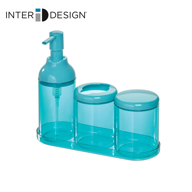 インターデザイン InterDesign 洗面所セット バスアクセサリー OUTLET SALE ソープディスペンサー 292647 新作 大人気 コットン収納 歯ブラシホルダー トレイ付き ブルー