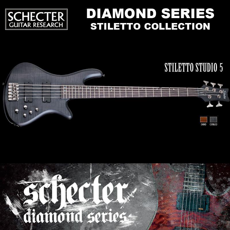 シェクター SCHECTER ベース / STILETTO STUDIO 5   AD-SL-ST5 スティレットスタジオ5 5弦ベース カラー:ブラック(黒) ダイヤモンドシリーズ 2016年モデル 送料無料