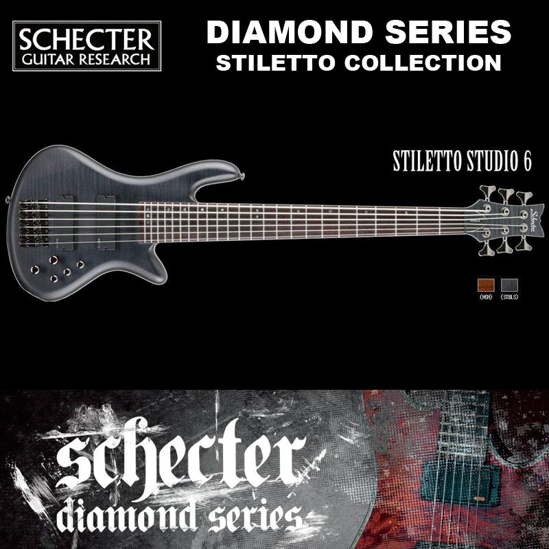 シェクター SCHECTER ベース / STILETTO STUDIO 6 | AD-SL-ST6 スティレットスタジオ6 6弦ベース カラー:ブラック(黒) ダイヤモンドシリーズ 2016年モデル 送料無料