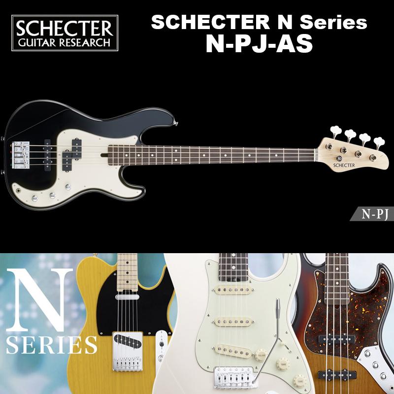 シェクター SCHECTER / N-PJ-AS / PJベース スワンプ・アッシュ カラー:ブラック(黒) Nシリーズ ソフトケース付