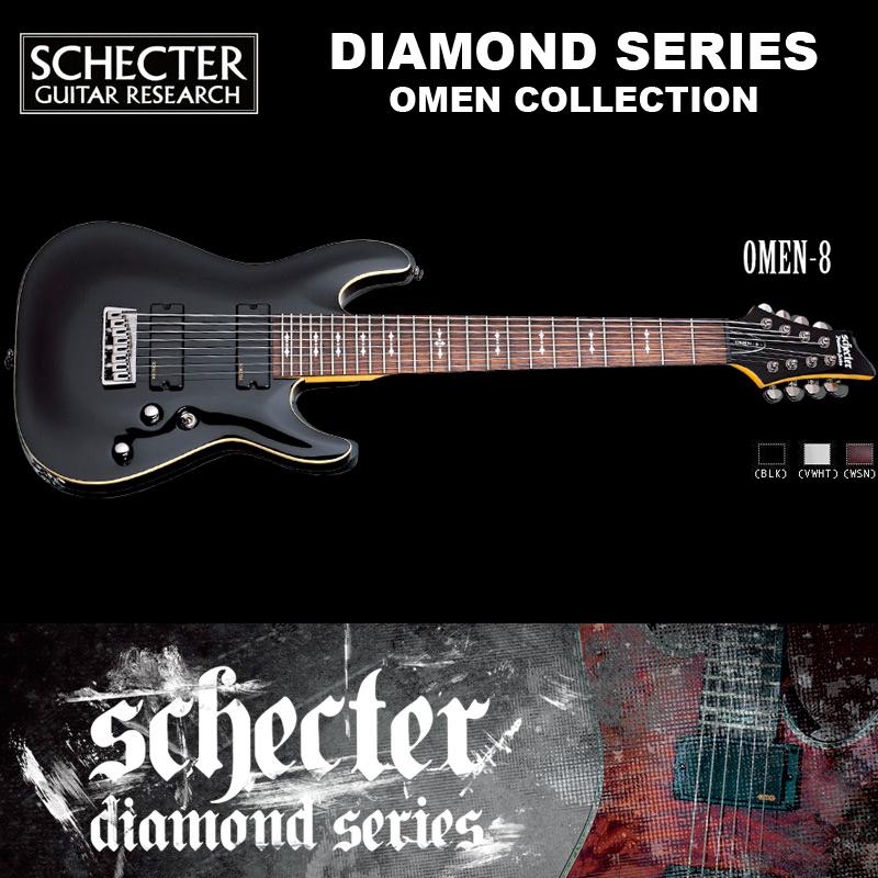 シェクター SCHECTER / OMEN-8 BLK オーメン8 ブラック AD-OM-8 8弦 ダイヤモンドシリーズ 送料無料
