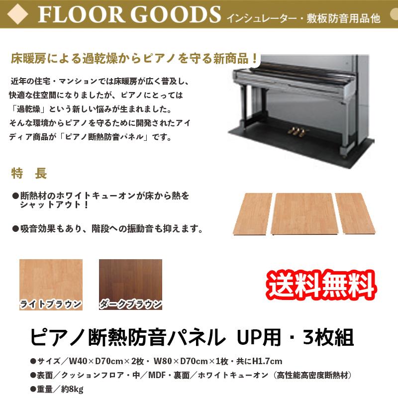 ピアノ断熱防音パネル UP用・3枚組 ブラウン | アップライトピアノ用床暖房による過乾燥からピアノを守る防音パネル 高性能高密度断熱材ホワイトキューオン使用