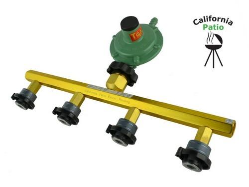 【屋外専用】[CB缶対応] ホースエンド専用調整器付カセットガスアダプター4本タイプ ※LPガスゴムホース(オレンジ)をさしてご利用ください。
