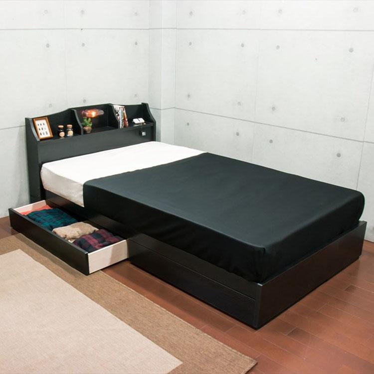 棚・引出付ベッド セミダブル フレーム A321-25-SD送料無料 ベッド ベット 収納付き ベッドフレーム 日本製 国産 化粧板 照明付き ライト 明かり ブラック ブラウン【TD】 【代引不可】 一人暮らし 家具 新生活