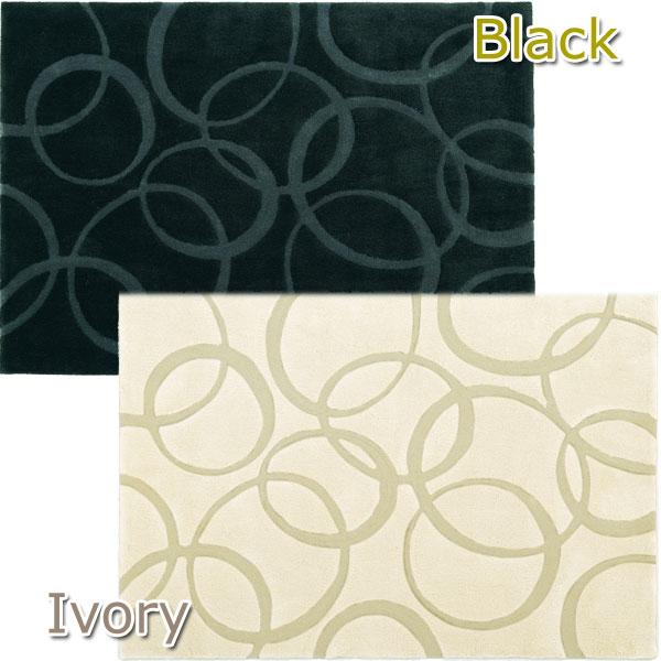【送料無料】 デザインラグ TEMPO 140×200 AD-302 アイボリー・ブラック カーペット 絨毯 マット リビング 敷物 【TD】【取寄せ品】 夏