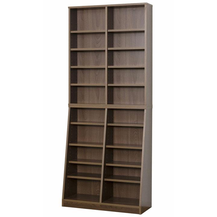 SOHO書棚W75 ウォルナット 31142送料無料 本棚 書棚 スリム 薄型 【TD】 【代引不可】【送料無料】
