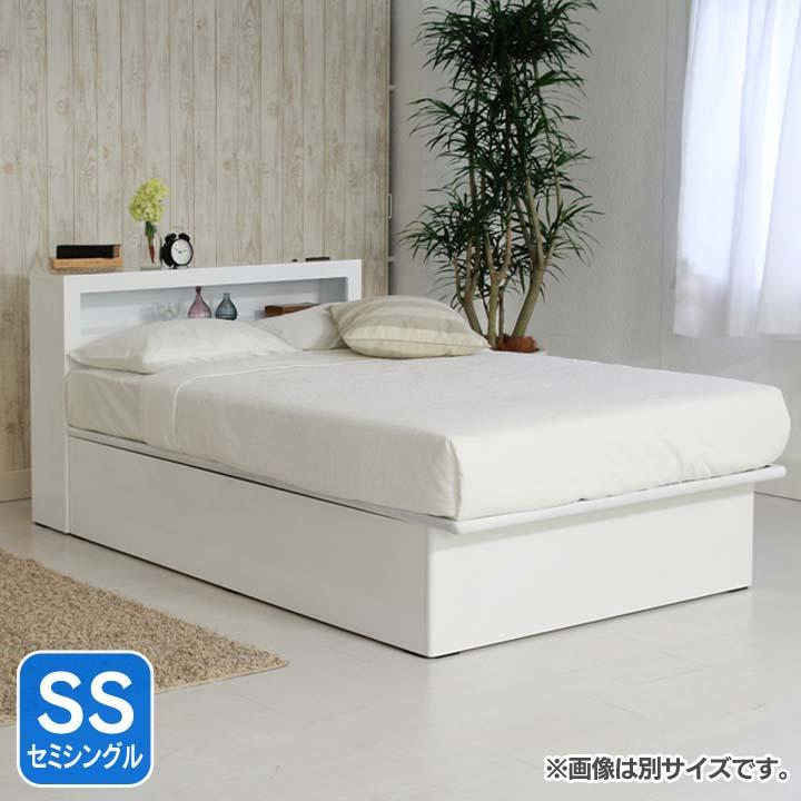 LED棚付き縦開きリフトアップベッド深型SS ホワイト EDGSSWH送料無料 ベッド セミシングル 寝室 ベッドルーム 寝具 【TD】 【代引不可】 一人暮らし ベッド おすすめ ワンルーム 新生活