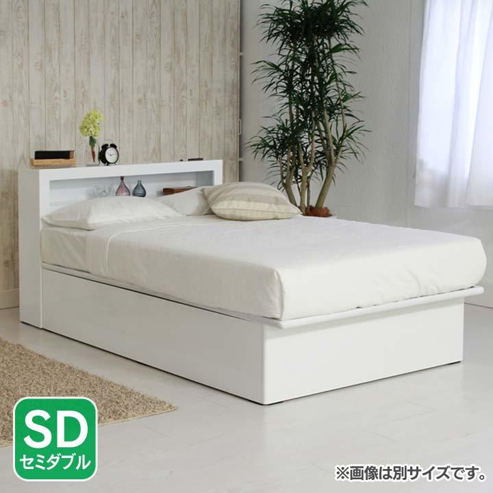 LED棚付き縦開きリフトアップベッド深型SD ホワイト EDGSDWH送料無料 ベッド セミダブル 寝室 ベッドルーム 寝具 【TD】 【代引不可】
