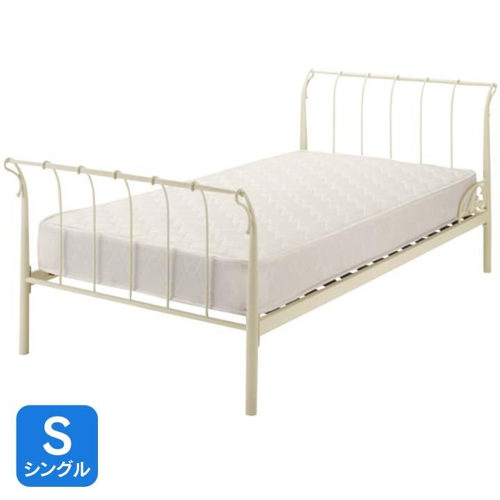 アンティークアイアンベッドS ホワイト CRLY2SWH送料無料 ベッド シングル 寝室 ベッドルーム 寝具 【TD】 【代引不可】 一人暮らし ベッド おすすめ ワンルーム 新生活
