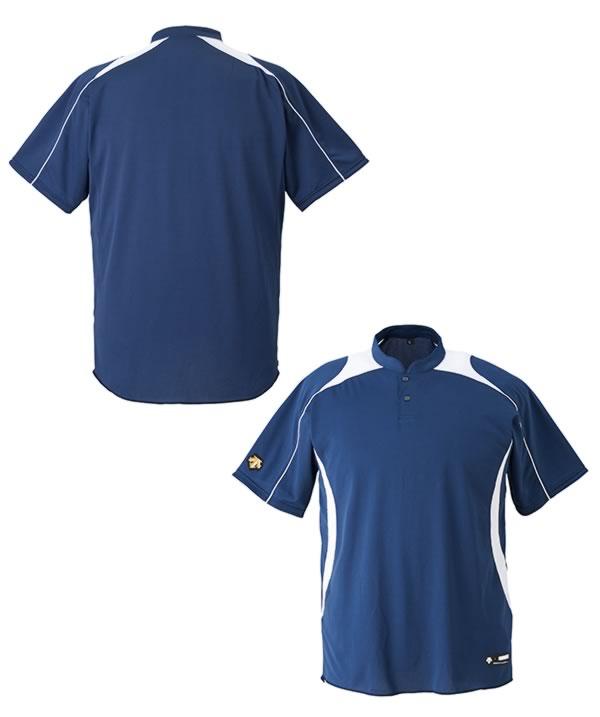 最大12%引クーポンベースボールシャツ野球デサント立衿2ボタンベースボールシャツプロモデルレギュラーシルエット吸汗速乾ストレッチ半袖2017取寄父の日プレゼント