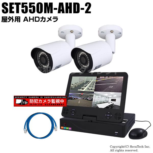 防犯カメラセット 224万画素 屋外 AHDカメラ2台とモニター付き4chデジタルレコーダーセット(2TB内蔵)【SET550M-AHD-2】