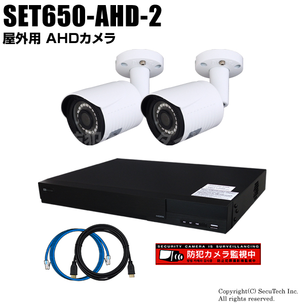 防犯カメラセット 224万画素 屋外 AHDカメラ2台と16chデジタルレコーダーセット(2TB内蔵)【SET650-AHD-2】