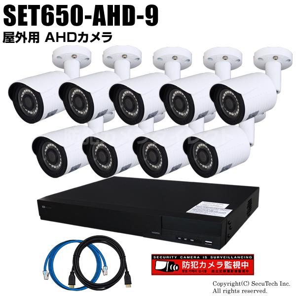 防犯カメラセット 224万画素 屋外 AHDカメラ9台と16chデジタルレコーダーセット(2TB内蔵)【SET650-AHD-9】