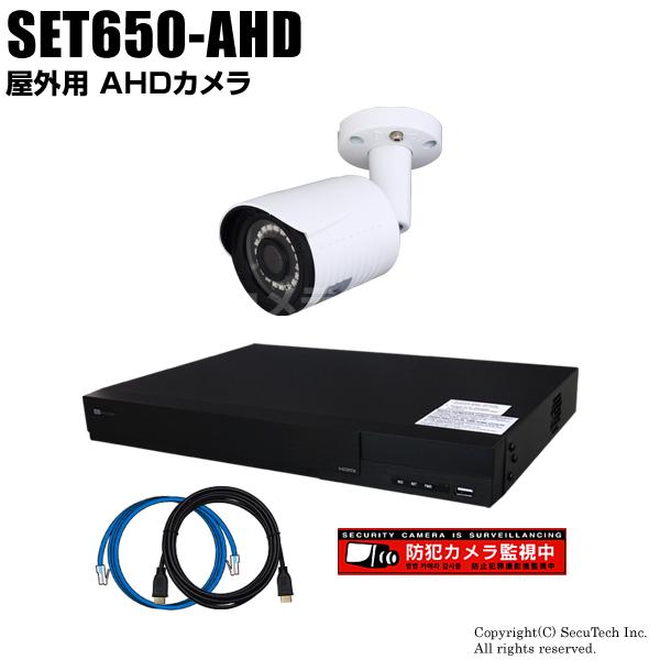 防犯カメラセット 224万画素 屋外 AHDカメラ1台と16chデジタルレコーダーセット(2TB内蔵)【SET650-AHD】