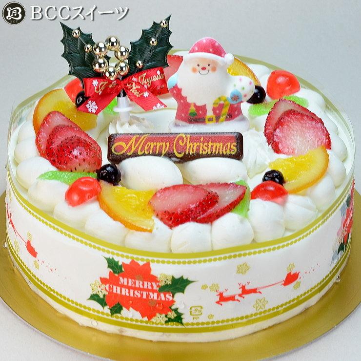 クリスマスケーキ 6号 リース生クリーム / 18cm いちご 生クリームケーキ 2019 予約 クリスマス ケーキ お取り寄せ 子供 人気 サンタ 飾り 冷凍 ギフト サイズ プレゼント スイーツ お菓子 フルーツケーキ