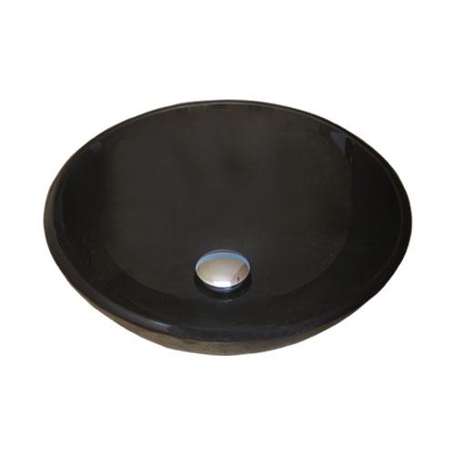 洗面ボウル 強化ガラス製 ラウンド ブラック 【幅42×奥行42×高14cm】 420mm-bk