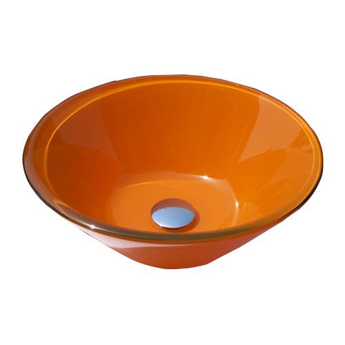 洗面ボウル おしゃれ ガラス 丸 ラウンド オレンジ 幅41.5×奥行41.5×高15.5cm INK-0404016H