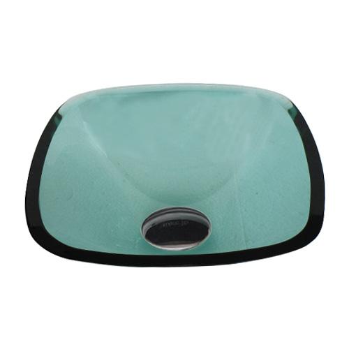 洗面ボウル ガラス スクエア グリーン・緑 幅32×奥行32×高12cm INK-0406022H