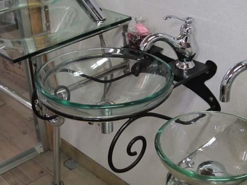 洗面台 洗面化粧台 「強化ガラス製洗面ボウル+アイアン台+プッシュ式排水栓」の3点セット クリア 幅39cm BATE-2