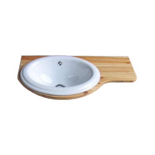 洗面ボウル 陶器 カウンター、プッシュ式排水栓の3点セット ナチュラル 幅60cm INK-0504068H