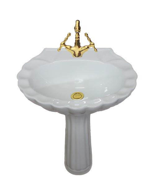 洗面台 足付 ペデスタルシンク 選べる混合水栓の4点セット PWセット35b HDLP009Kset