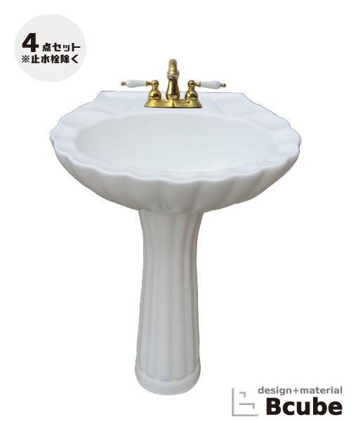 豪華 PWセット40b 洗面台 セット 選べる混合水栓の4点セット INK-0505018HKset:ビーキューブ店 ペデスタルシンク 足付-木材・建築資材・設備