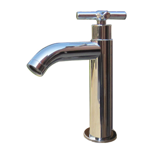 洗面 水栓 おしゃれ 蛇口 水栓金具 単水栓 クロスハンドル シルバー(銀) 奥行15×吐水口高9cm INK-0302055H