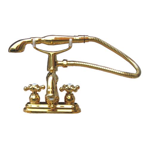 シャワーヘッド付き 混合水栓 スパウト可動式 三つ穴用 ゴールド(金) [奥行205×吐水口高7.5cm] INK-0301016H-S