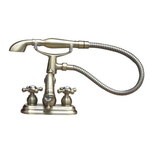シャワーヘッド付き 混合水栓 スパウト可動式 3穴用 アンティークゴールド(古金) 奥行20.5×吐水口高7.5cm INK-0301019H-S