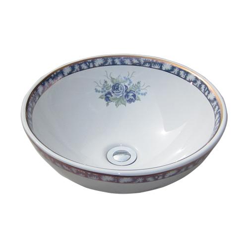洗面ボウル おしゃれ 陶器 オンカウンター 置き型 ラウンド 丸 ボタニカルデザイン 幅40×奥行40×高15.5cm INK-0403103H