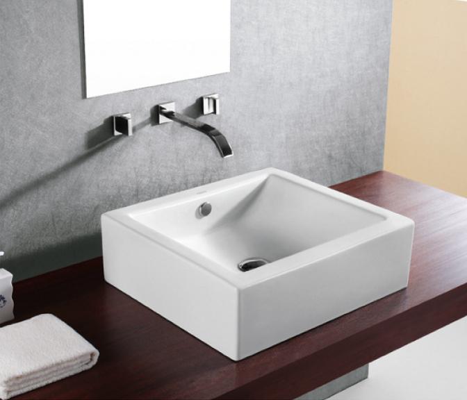 洗面ボウル おしゃれ 陶器 オンカウンター 置き型 スクエア 四角 幅50×奥行36×高15cm INK-0402025H
