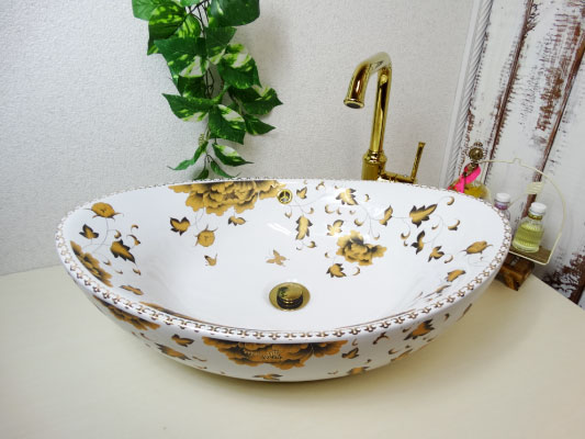 洗面ボウル おしゃれ 陶器 オンカウンター 置き型 オーバル 楕円 ボタニカルデザイン 幅59×奥行39×高19.5cm INK-0403192H