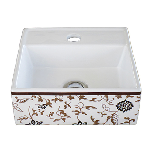 洗面ボウル 陶器 オンカウンター 置き型 幅28×奥行28×高10.5cm INK-0403256H