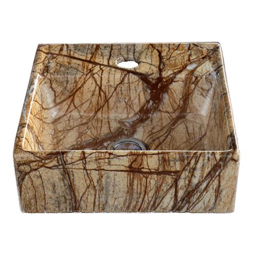 洗面ボウル 陶器 オンカウンター 置き型 スクエア 四角 大理石調 幅28×奥行28×高10.5cm INK-0403260H