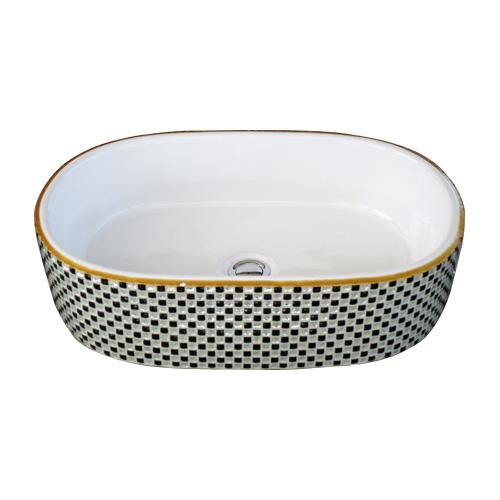 洗面ボウル おしゃれ 陶器 オンカウンター 置き型 オーバル 楕円 幅57×奥行36×高15cm INK-0403265H
