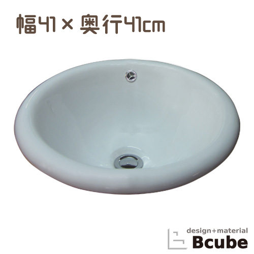 丸 INK-0401012H オーバーカウンター おしゃれ 幅41cm 陶器 ラウンド 埋め込み 洗面ボウル