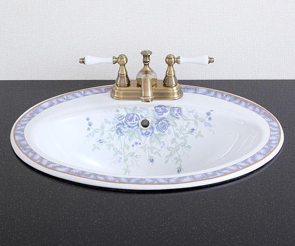 洗面ボウル おしゃれ 陶器 オーバーカウンター 埋め込み オーバル 楕円 三つ穴用 ボタニカルデザイン 幅55cm INK-0403117H